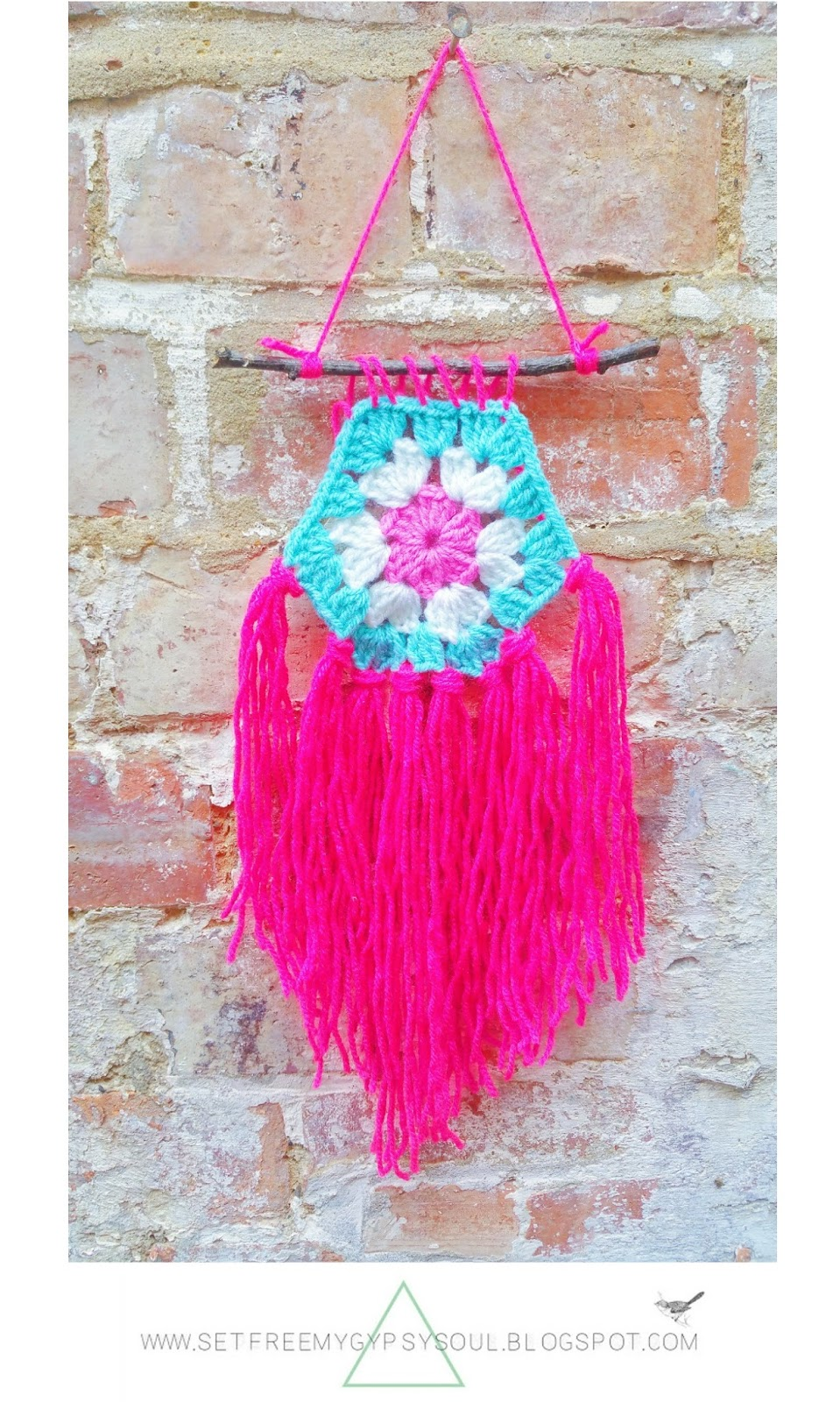 free crochet bohemian boho gypsy interior design wall art pattern