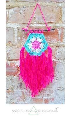 free crochet bohemian boho gypsy interior design wall art pattern