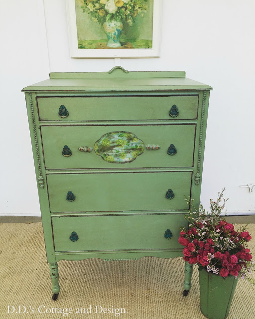 painted green dresser with napkin wallpaper highlights
