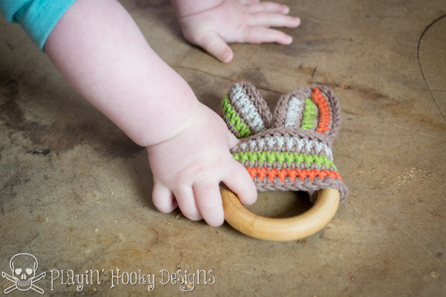 39004e669 Playin  Hooky Designs  Bunny Slope Teether for Babies - Free Crochet ...
