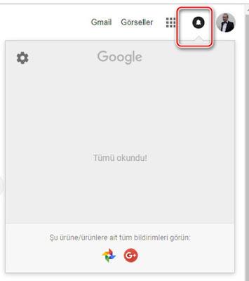 Google web sayfasının sağ üst kısmında bulunan bildirim kısmı kaldırılıyor.