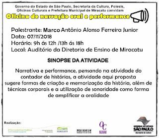 Prefeitura de Miracatu realizará oficina de narração oral e performance