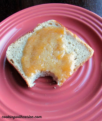 toast with vanilla peach preserves spread on it