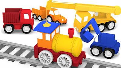Macchinine colorate e il trenino a vapore il cartone dei piccoli