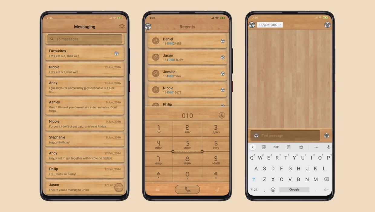 Wood style MIUI Theme