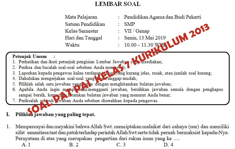 Soal Dan Kunci Jawaban Pat Pai Smp Kelas 7 Kurikulum 2013 Tahun Pelajaran 2018 2019 Didno76 Com
