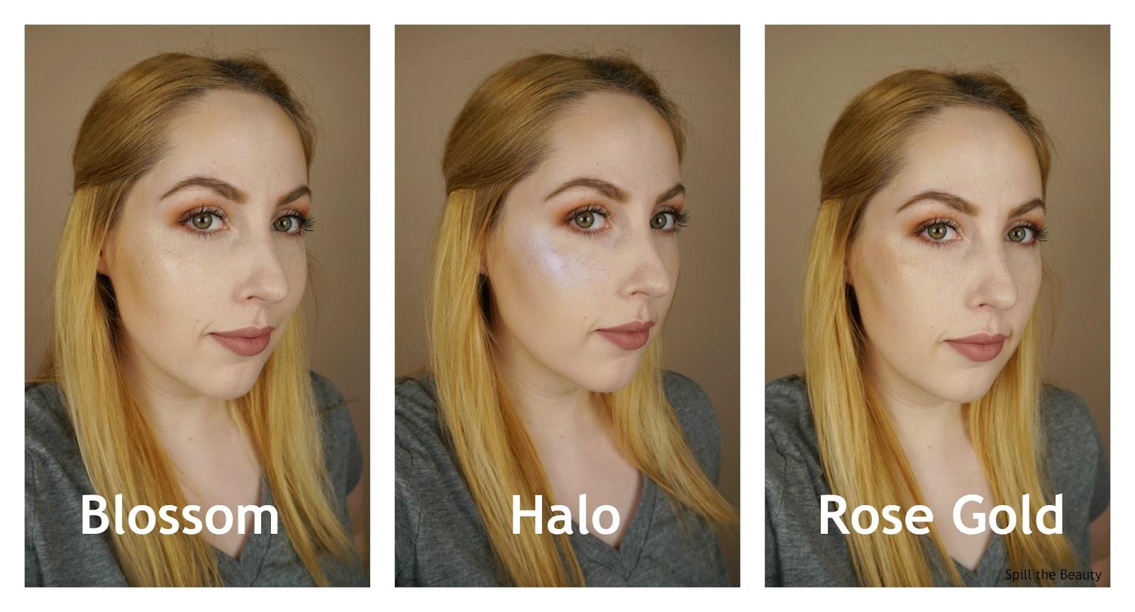 Cover FX Custom Enhancer Drops blossom halo rose gold highlighter review swatches comparison