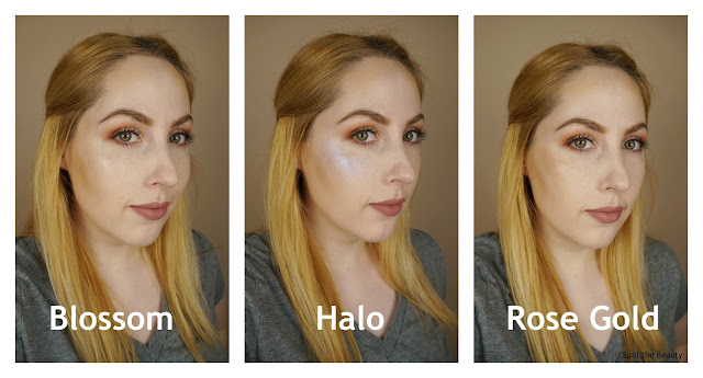 Cover FX Custom Enhancer Drops blossom halo rose gold highlighter review swatches comparison
