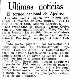 Recorte de La Vanguardia sobre el Torneo Nacional de Ajedrez Barcelona 1926, 5/10/1926