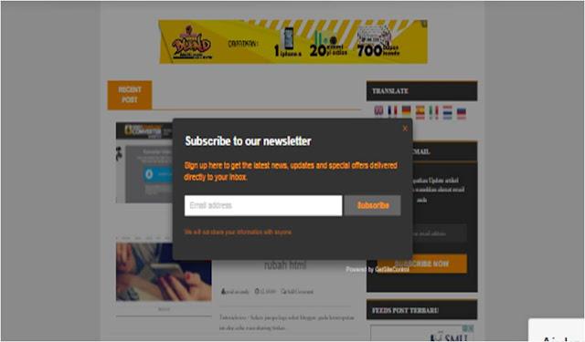 Cara membuat subscript box melayang pada blog