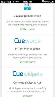 Cue widgets