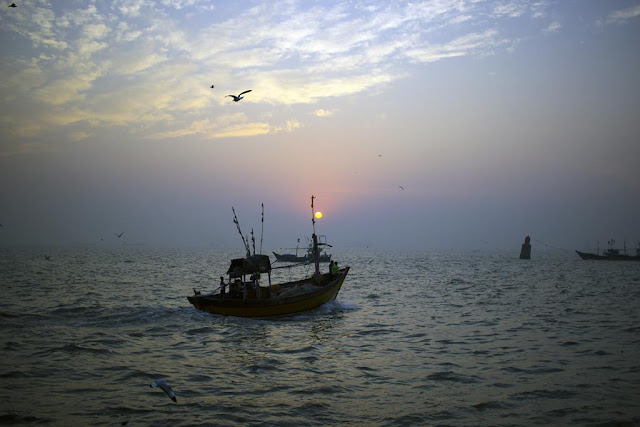 skywatch, sky, sunrise, sassoon docks, birds, boats, arabian sea, blues, clouds, mumbai, india,