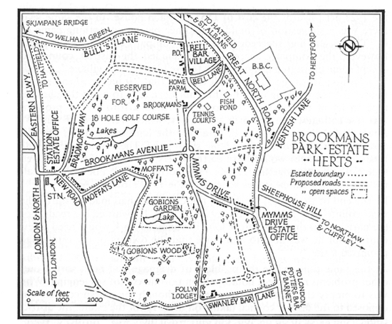 A map of Brookmans Park Estate map