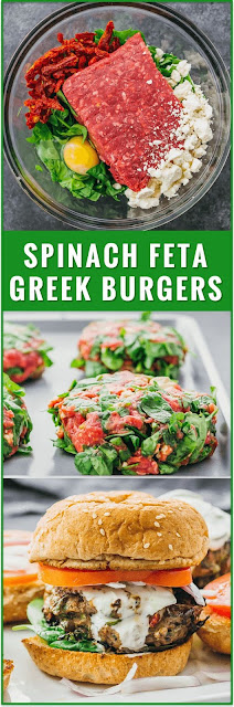 Greek Burgers with Spinach, Feta, and Sun-Dried Tomatoes