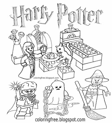 Hogwarts school spooky ghost Halloween printable Harry Potter minifigure city Lego drawing to color