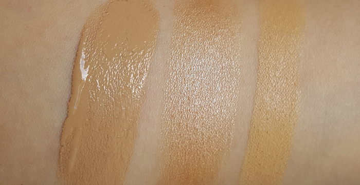 Swatches: REVLON ColorStay Makeup oily/combination skin, PhotoReady Concealer, insta-fix highlighting stick