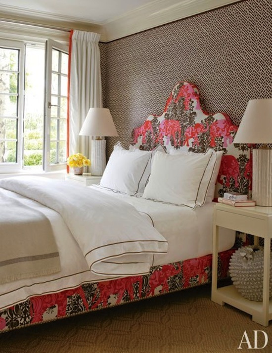 china seas fabric, printed fabric bed and headborad, guest bedroom, Hampton style