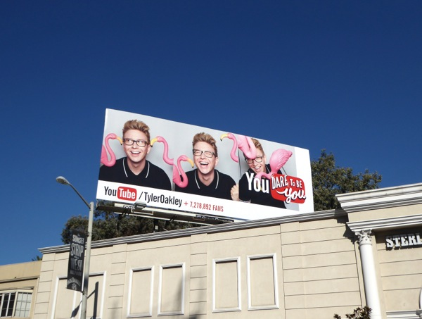 Tyler Oakley YouTube flamingo billboard