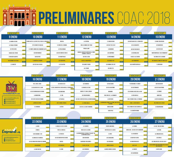 calendario preliminares coac 2018