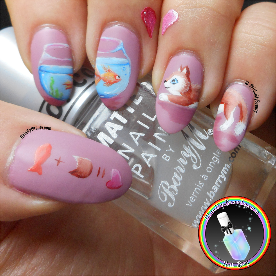 Love is not limited to the confines of a fish bowl and love is blind to  fishy flavoured kitty snacks... these two are complete opposites but don't  they say ... - Freehand Cat & Fish Valentine's Day Nails IthinityBeauty.com Nail