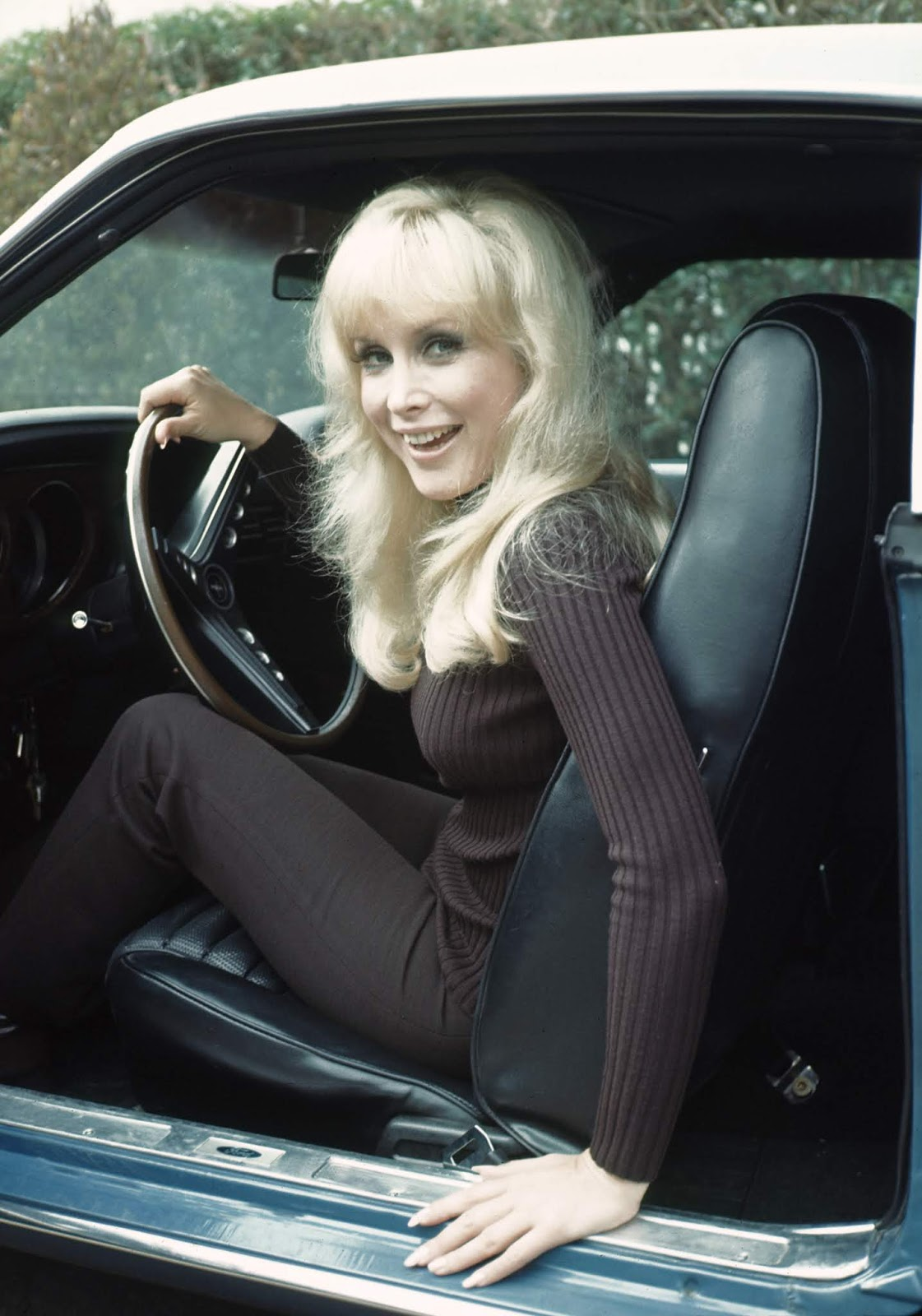 Just A Car Guy: Barbara Eden and her 1969 428 Cobra Jet Mach 1, at her home  in LA, 1970. photo by Herm Lewis