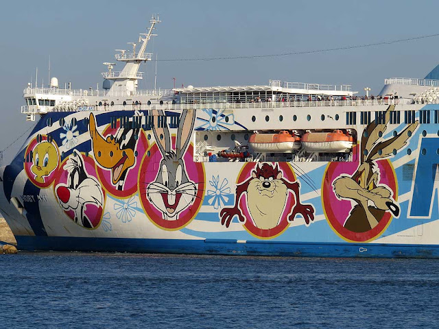 Moby Aki ferry, IMO 9299393, port of Livorno