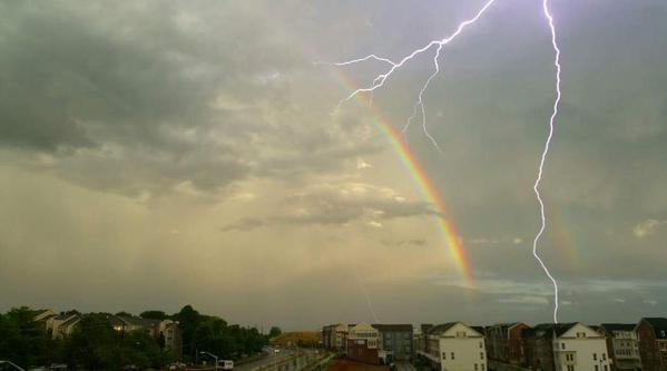 Several CWG readers captured rainbow AND lightning shots