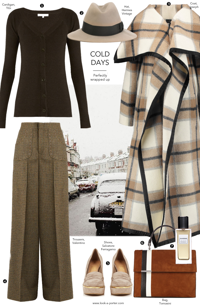 A cosy and elegant somewhat 1970s inspired outfit idea to wear in winter and autumn styled with vintage Hermes, Joseph, Valetino, Ferragamo & Saint Laurent for www.look-a-porter.com fashion blog