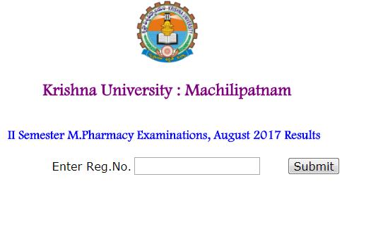 Krishna University M.Pharm Exam Results 2017