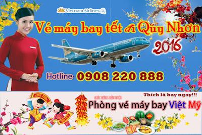 vé máy bay tết đi Quy Nhơn 2016 hãng Vietnam Airline