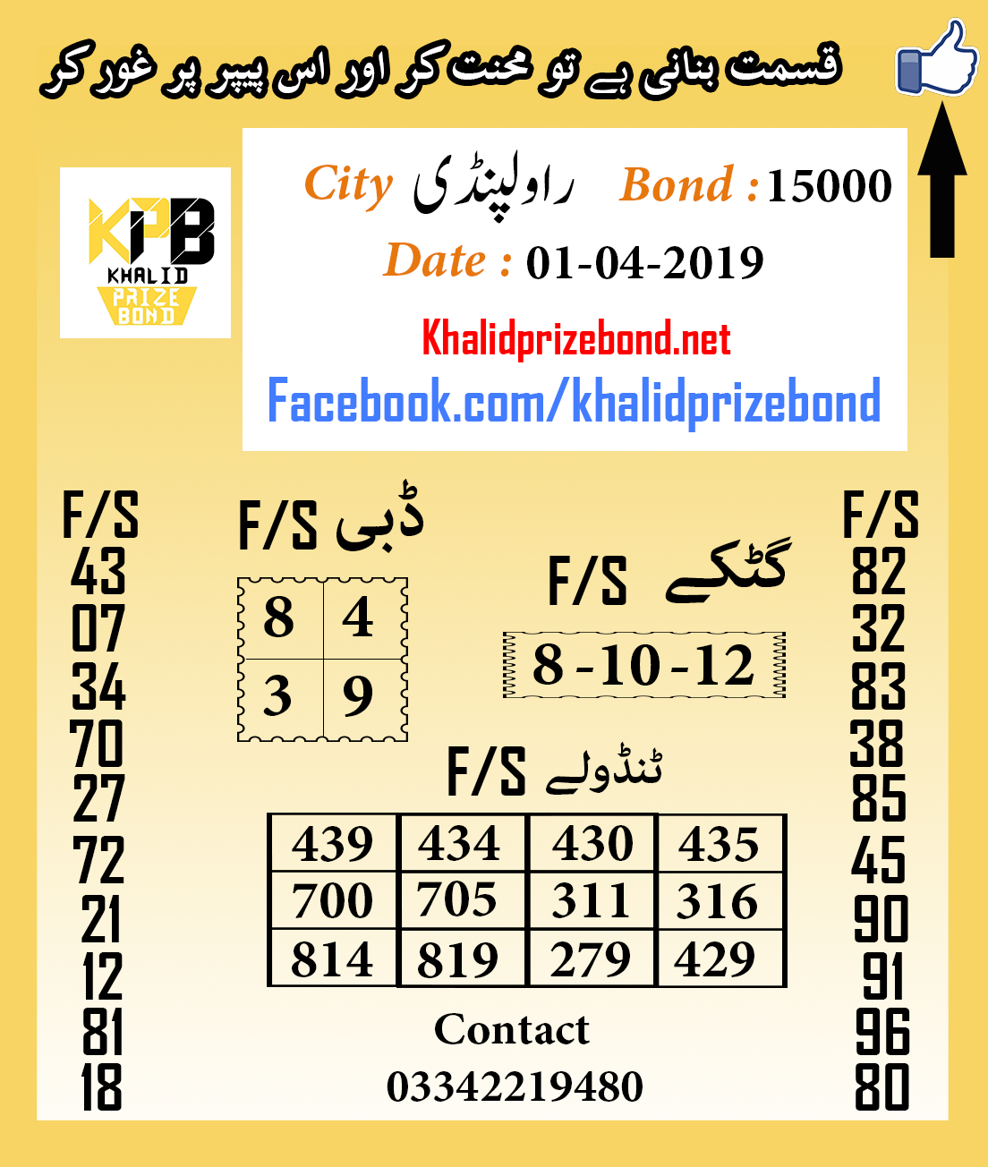 Prize Bond 15000 City Rawalpindi F/S Akray And Tandolay VIP