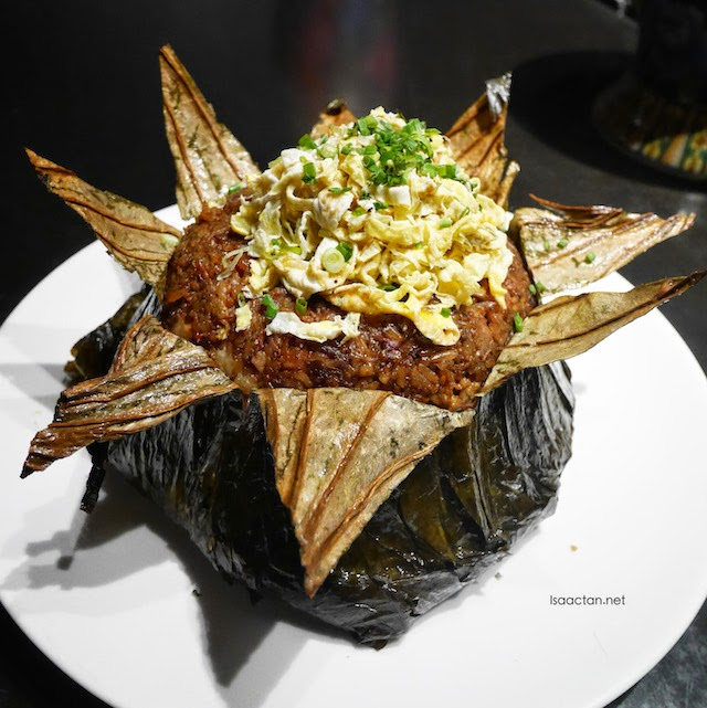 Fried Rice with Assorted Chinese Waxed Meat Wrapped in Lotus Leaf