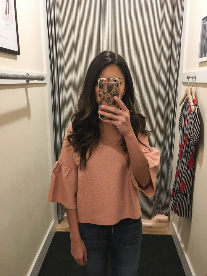 bell-sleeve blush top
