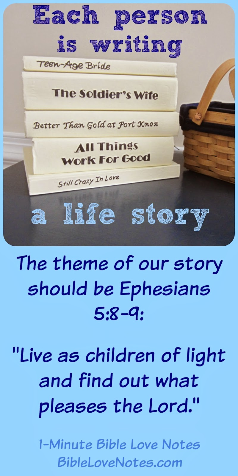 Ephesians 5:8-9, pleasing the Lord, writing our story,