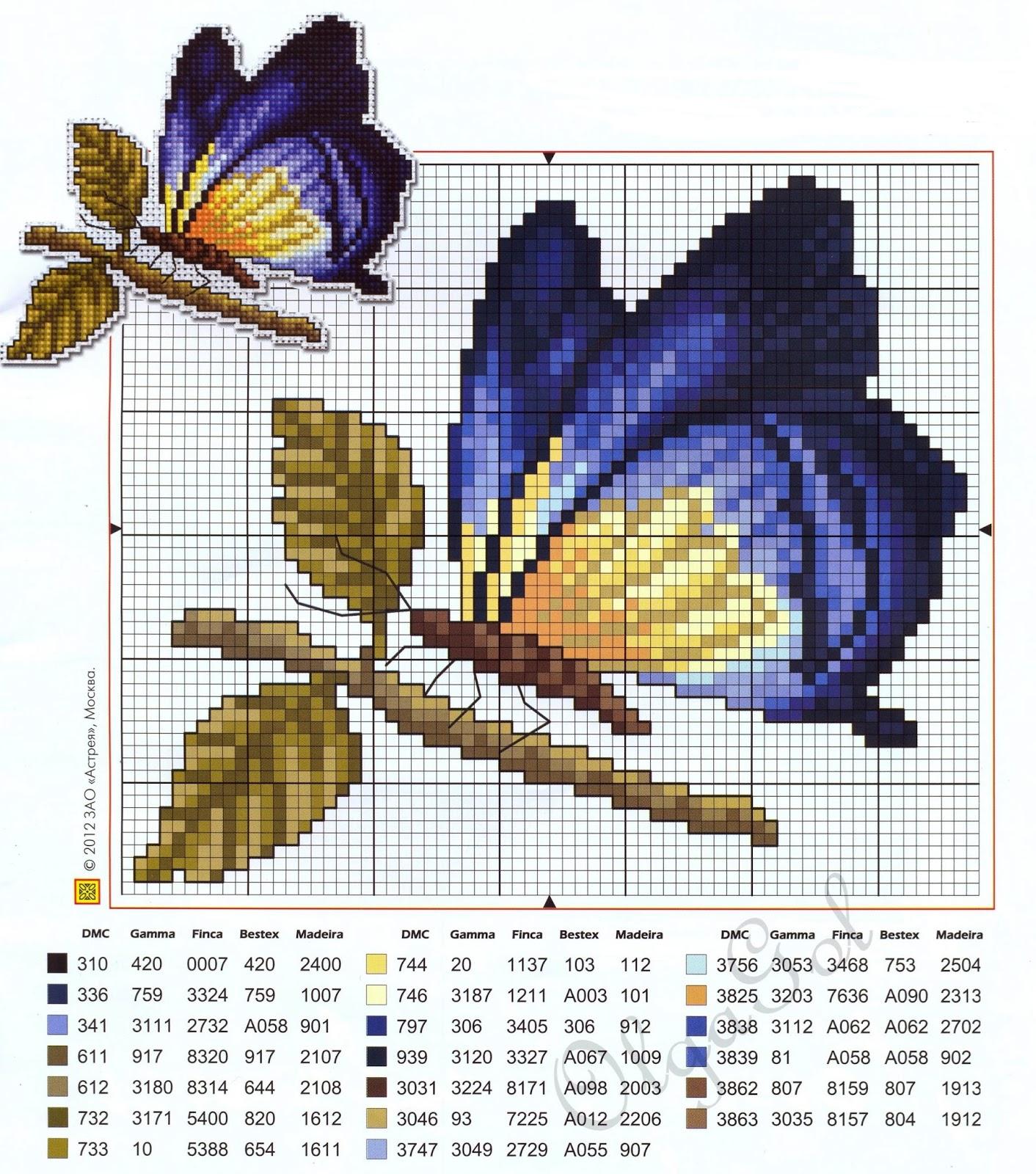 Schemi farfalle e fiori a punto scroce schemiapuntocroce for Schemi punto croce fiori e farfalle