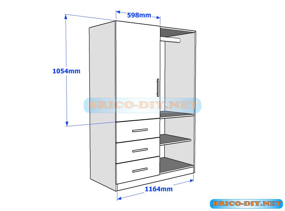 Plano de ropero guardarropa de melamina blanco con gavetas