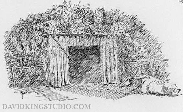 art sketch pen wheeler farm shed barn cow