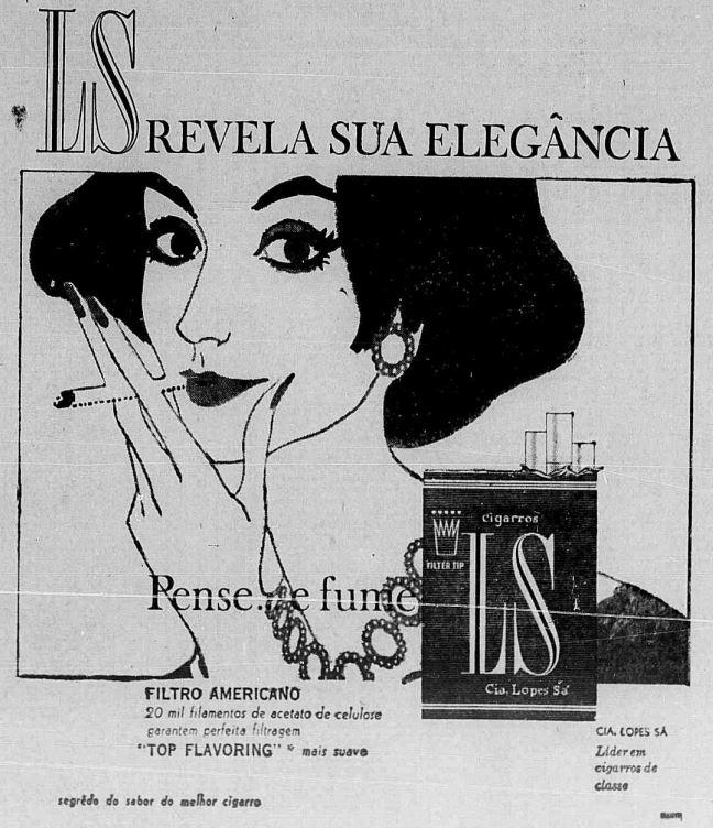 Propaganda dos Cigarros LS apontando a elegância de fumar às mulheres