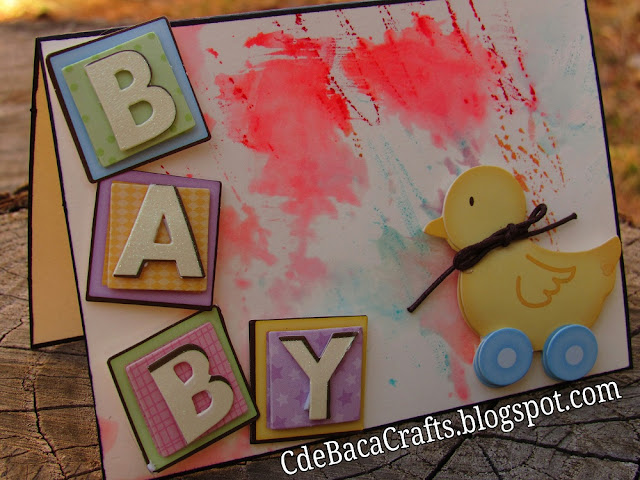 An Adorable Handmade Baby Shower Card by CdeBaca Crafts Blog.
