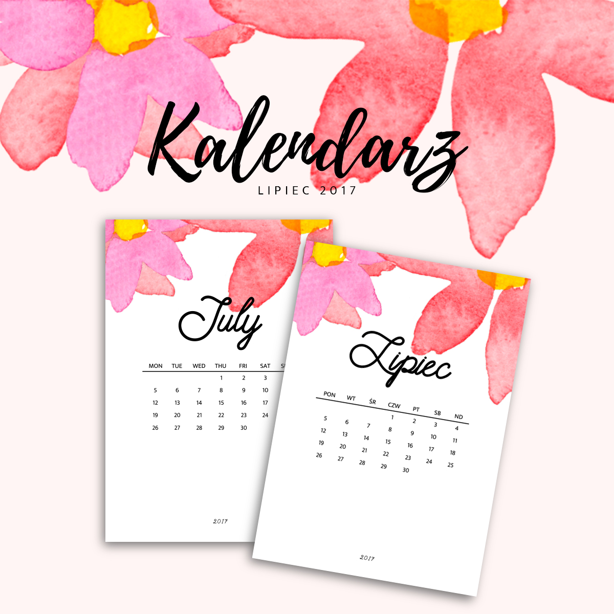 Kalendarz do druku - lipiec 2017 {do pobrania za darmo}