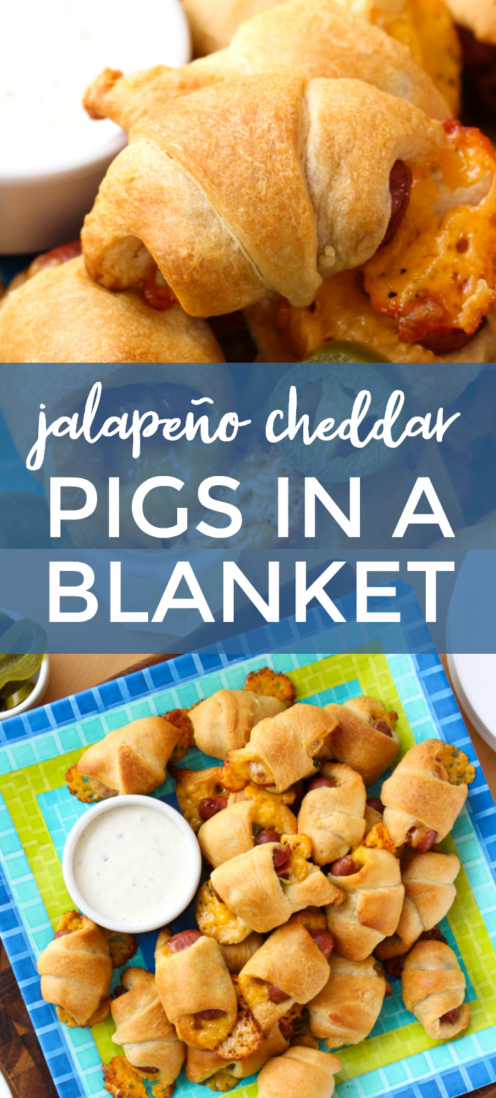 Jalapeño Cheddar Pigs in a Blanket | The Two Bite Club | #pigsinablanket #appetizer #fingerfood