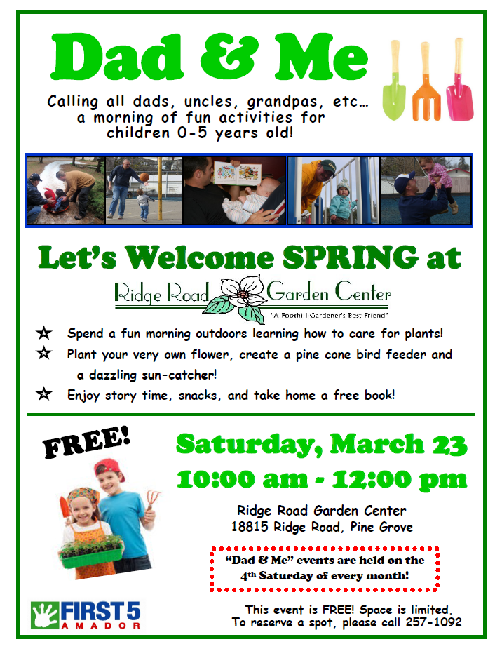 Dad & Me: Let's Welcome Spring at Ridge Road Garden Center - Sat Mar 23