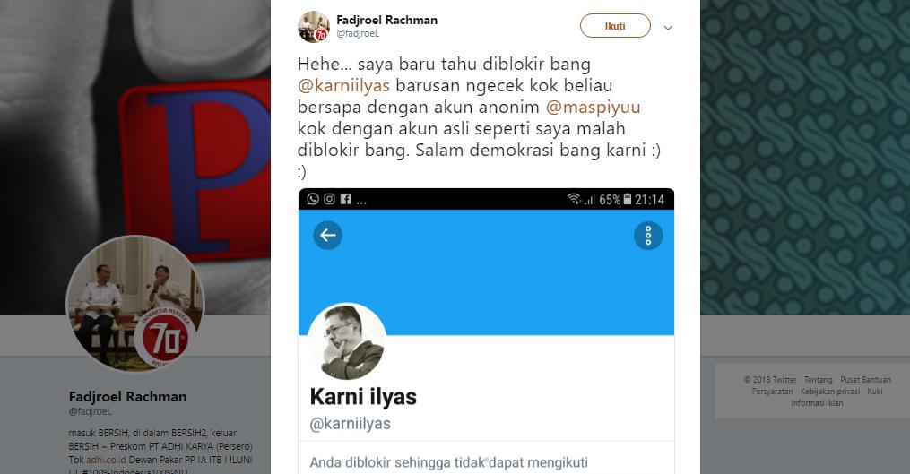 NGAKAK! Akun Twitternya Diblokir Karni Ilyas, Fadjroel Jadi Bahan Tertawaan Warganet Sebab Kebakaran Jenggot
