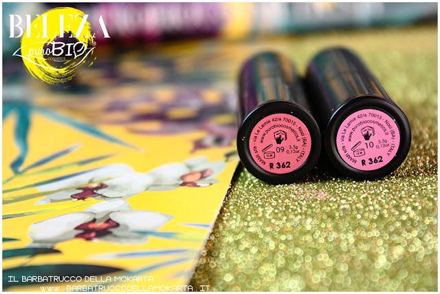 beleza purobio collezione  lipstick 9 e 10 magenta chiaro rosa scuro rossetti recensione