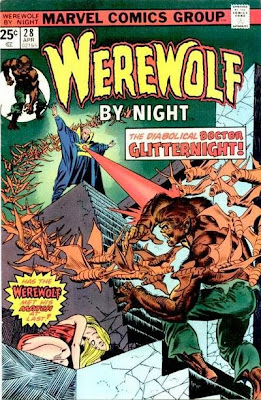 Marvel Comics, Werewolf by Night #28, Dr Glitternight, Gil Kane cover, attacked by bat creatures, helpless blonde