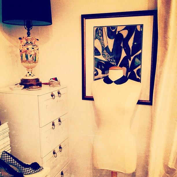 office corner, warhol, art, shoes, dress form