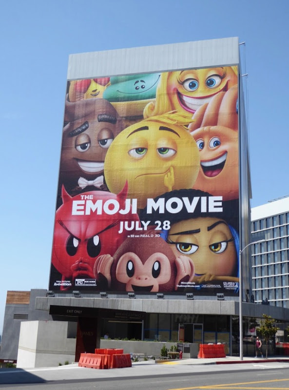 Giant Emoji Movie billboard Sunset Strip