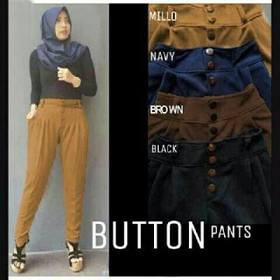 Jual Celana Panjang Button Basic Pants - 12346