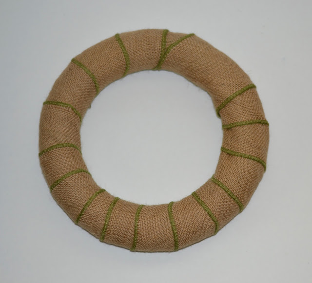 foam wreath form wrapped in burlap ribbon