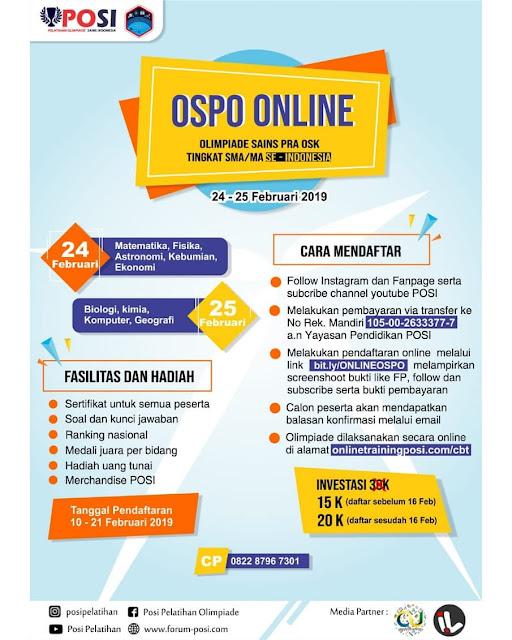 Olimpiade Sains Nasional Pra OSK (OSPO) ONLINE 2019 SMA Sederajat